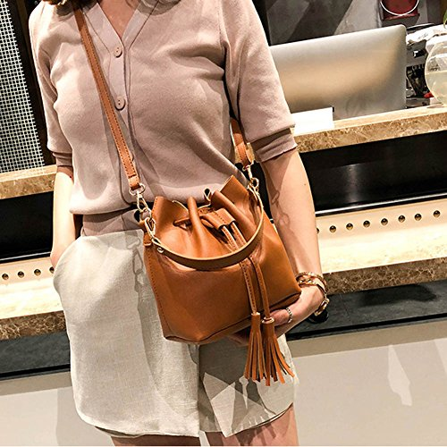 Women wildlead Handbag Small Bag Drawstring Crossbody Messenger Leather Bucket PU Brown Bags Tassel OAdtqwrAyx