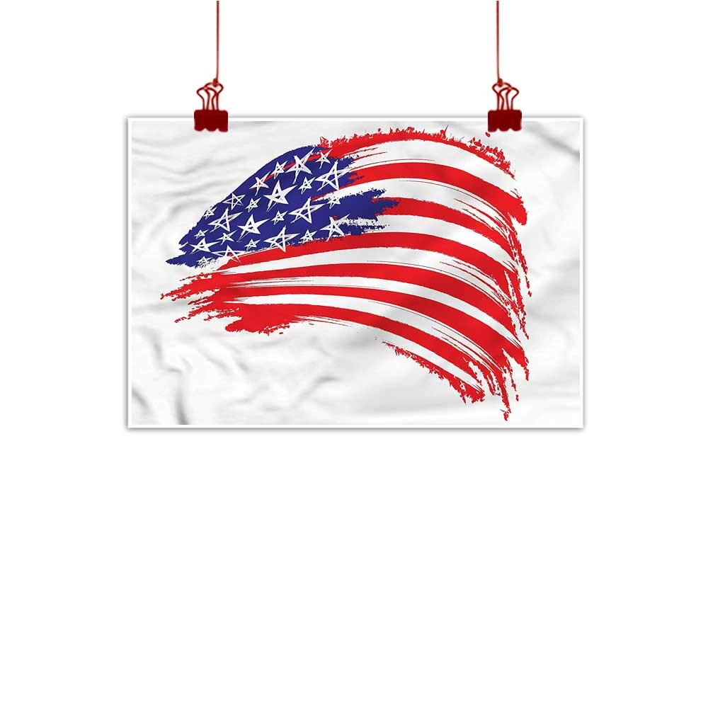 color15 20 x16  (50cm x 40cm) Anzhutwelve Fabric Cloth Rolled American Flag,Flag Clouds Memorial for Living Room Bedroom