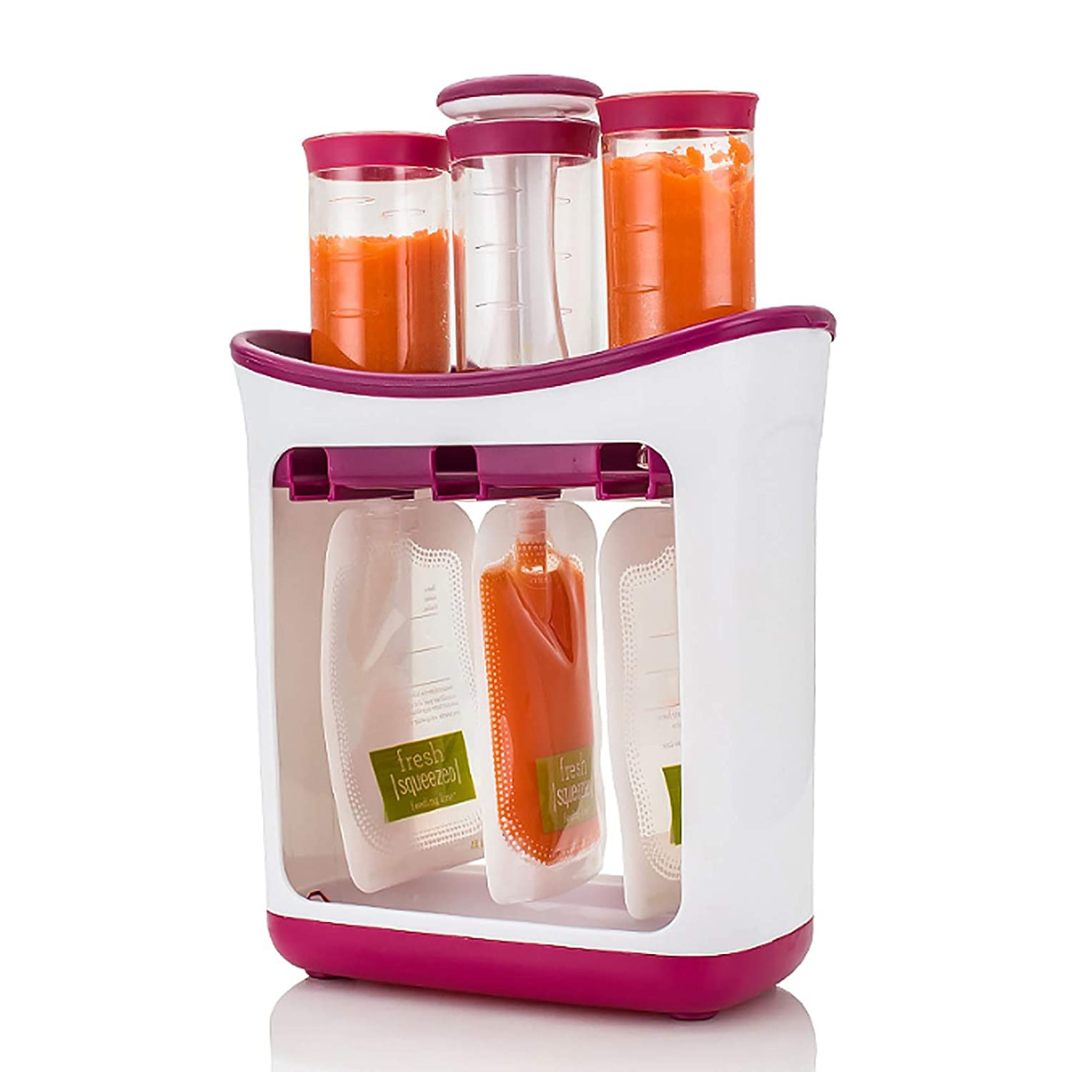 Queen.Y Baby Food Maker, Baby Food Squeeze Station with Storage Bags, Food- Grade Material Homemade DIY Fresh Fruit Juice Squeeze Station