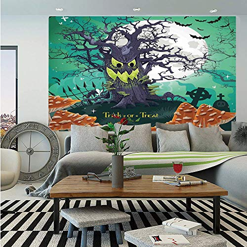 (Halloween Decorations Huge Photo Wall Mural,Trick or Treat Dead Forest with Spooky Tree Graves Big Kids Cartoon Art,Self-Adhesive Large Wallpaper for Home Decor 100x144)