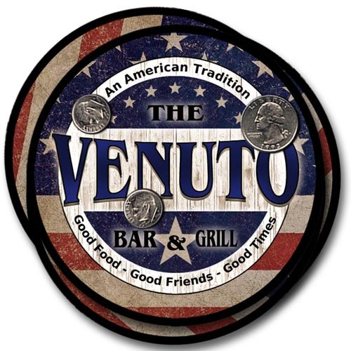 Venuto Family Bar and Grill Rubber Drink Coaster Set - Patriotic Design