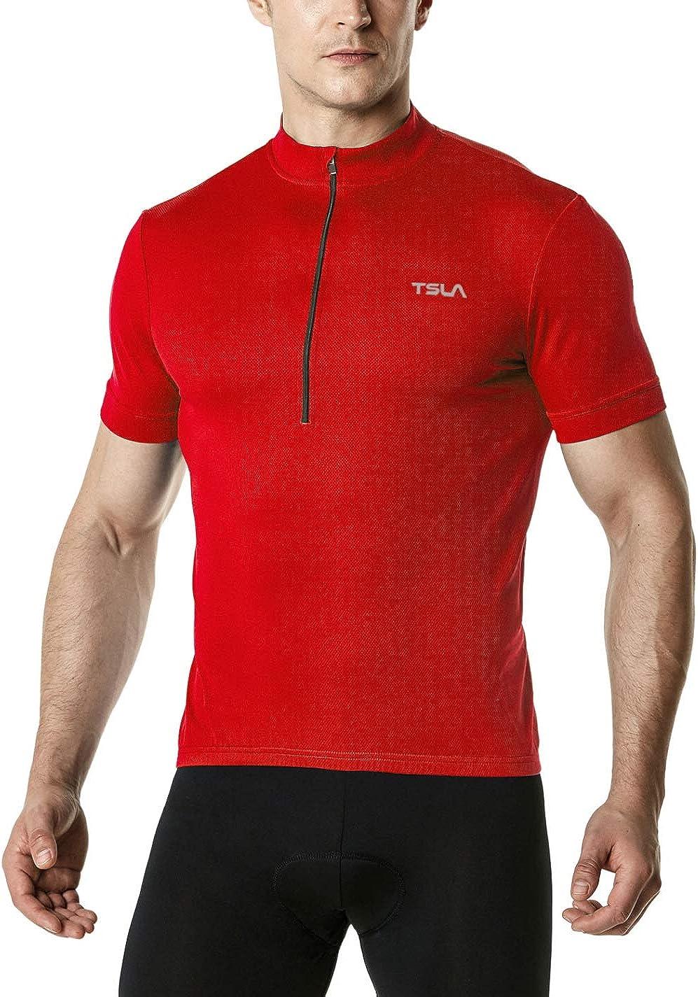 TSLA Men's Short Sleeve Bike Cycling Jersey, Quick Dry Breathable Reflective Biking Shirts with 3 Rear Pockets