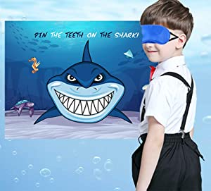 Pin The Teeth on The Shark Game - Kids Under the Sea/Pool/Beach Birthday/Baby Shower Party Supplies Decorations