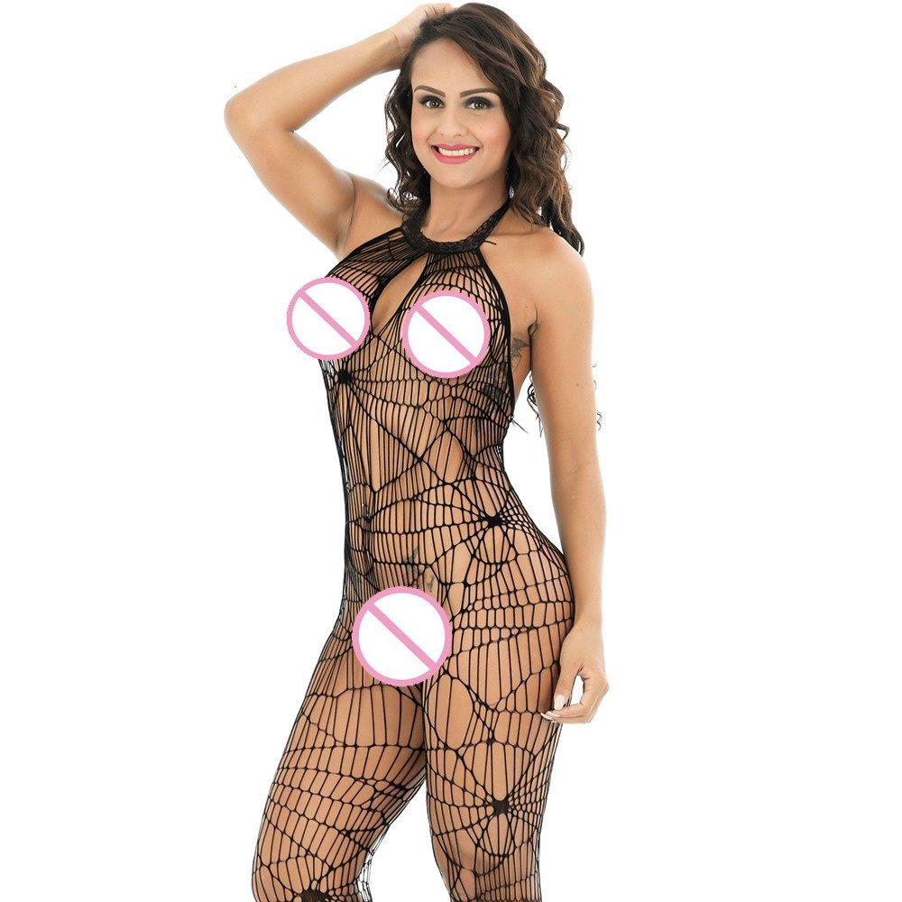c9499c5e1c Amazon.com  Women s Sexy Lingerie for Sex Fishnet Bodystocking Suspender  Stocking Teddy Nightie Full Body Open Crotch Halter Babydoll Net Sheer  Bodysuits ...