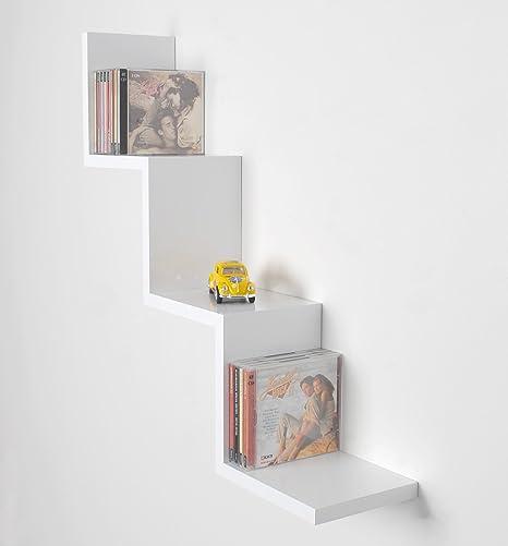 Estantería color blanco brillante en forma de zigzag con diseño retro para CD DVD
