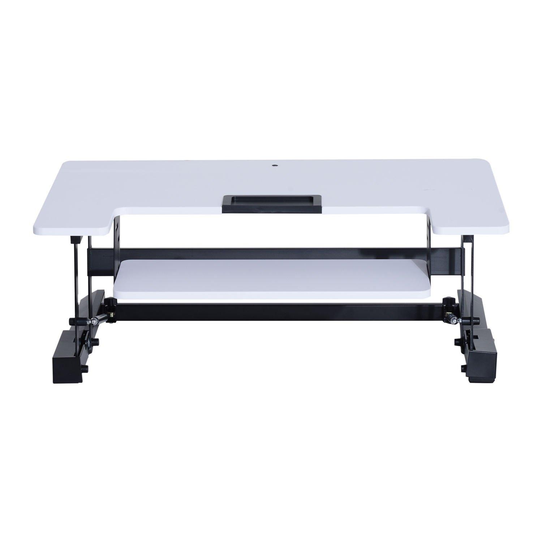 HOMCOM Sitz Steh Computertisch Computertisch Computertisch Schreibtisch Erhöhung Tischaufsatz höhenverstellbar, Stahl+MDF, Schwarz Weiß, 93x61,5x16,5-41,5cm (Weiß) f1ac52