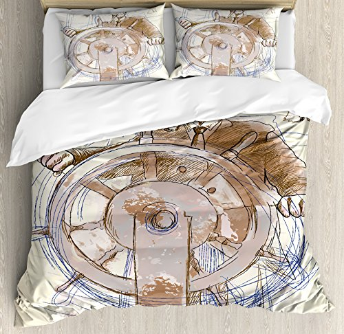Ambesonne Nautical Duvet Cover Set, Sea Captain The Leader Seaman Sketch Art Navigation Navy Classical Flying Bird, Decorative 3 Piece Bedding Set with 2 Pillow Shams, Queen Size, Brown Cream