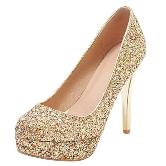 Atyche Damen Extreme High Heels Stiletto Pumps mit Plateau und Glitzer Braut Hochzeit Elegante Schuhe Ecmvj