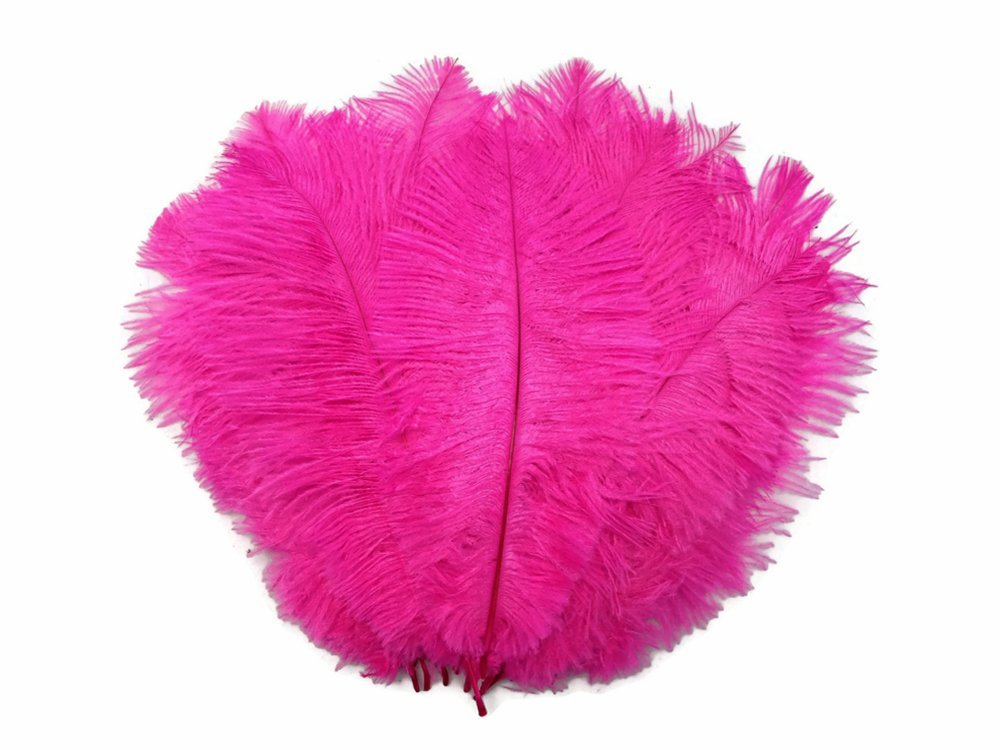 1/2 lb - 11-13'' Hot Pink Ostrich Drabs Wholesale Body Feathers (Bulk)