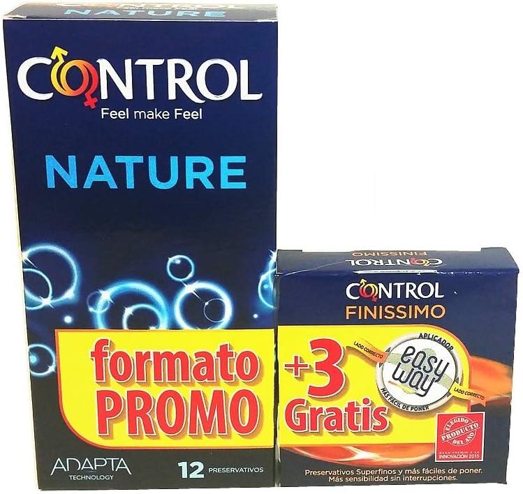 Control: Caja de condones Condones Nature 12 uds + 3 finis: Amazon.es: Salud y cuidado personal