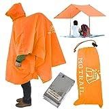 【MGTRAIL】軽量ポンチョタープレインコート登山雨具リュック背負い着用可 ビバーク装備防寒シート付