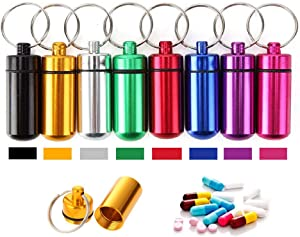Aluminum Metal Pill Box Case Organizer - 10 Pieces Outdoor Medicine Bottle Hermetic First-aid Keychain Round Pill Bottle Camping Survival Waterproof First Aid Pill Container,Random Color