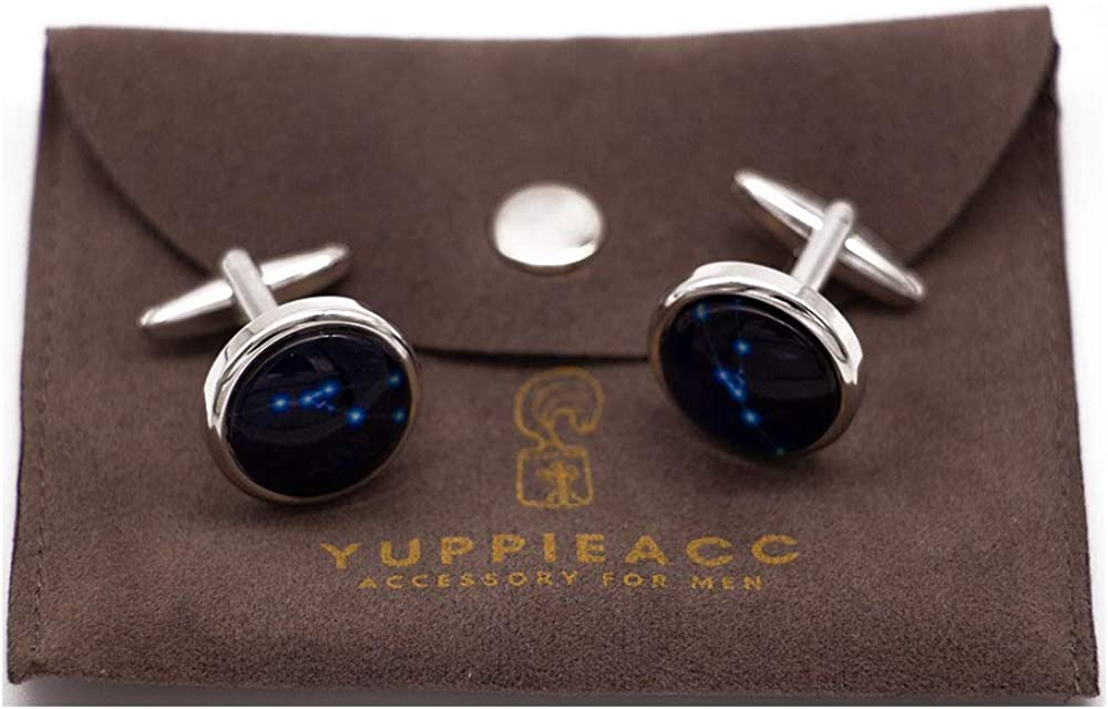 Yuppieacc noctilucent cufflinks of the 12 zodiac signs for men/'s french shirt with an exquisite pouch
