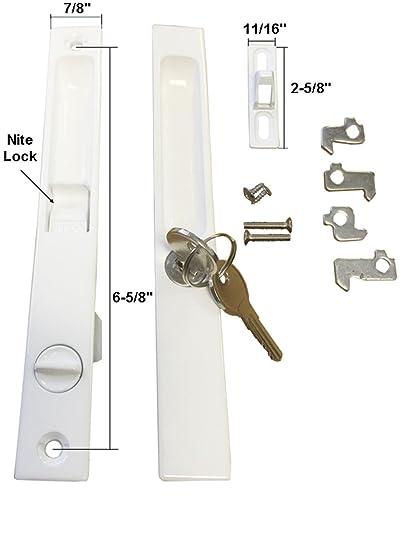 Sliding Glass Door Handle Set, Keyed, Flush Mount, with \
