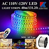 KERTME 5050-60 Type AC 110-120V RGB LED Strip Lights, Flexible/Waterproof/Dimmable/Multi-Colors/Multi-Modes LED Rope Light + 24 Keys Remote for Home/Garden/Building Decoration (131.2ft/40m, RGB)