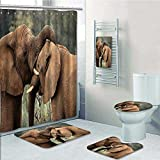 aolankaili 5-Piece Bathroom Set-Includes Shower Curtain Liner,Safari Two Wild Savanna s Wrestling Icons South s Game Brown GreenDecorate The Bathroom(Medium Size)