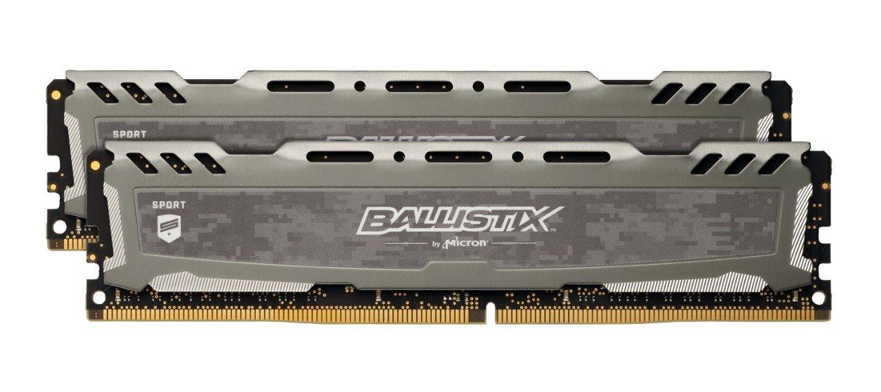 Ballistix Sport LT 32GB Kit (16GBx2) DDR4 3000 MT/s (PC4-24000) CL16 DR x8 DIMM 288-Pin Memory - BLS2K16G4D30BESB (Gray)