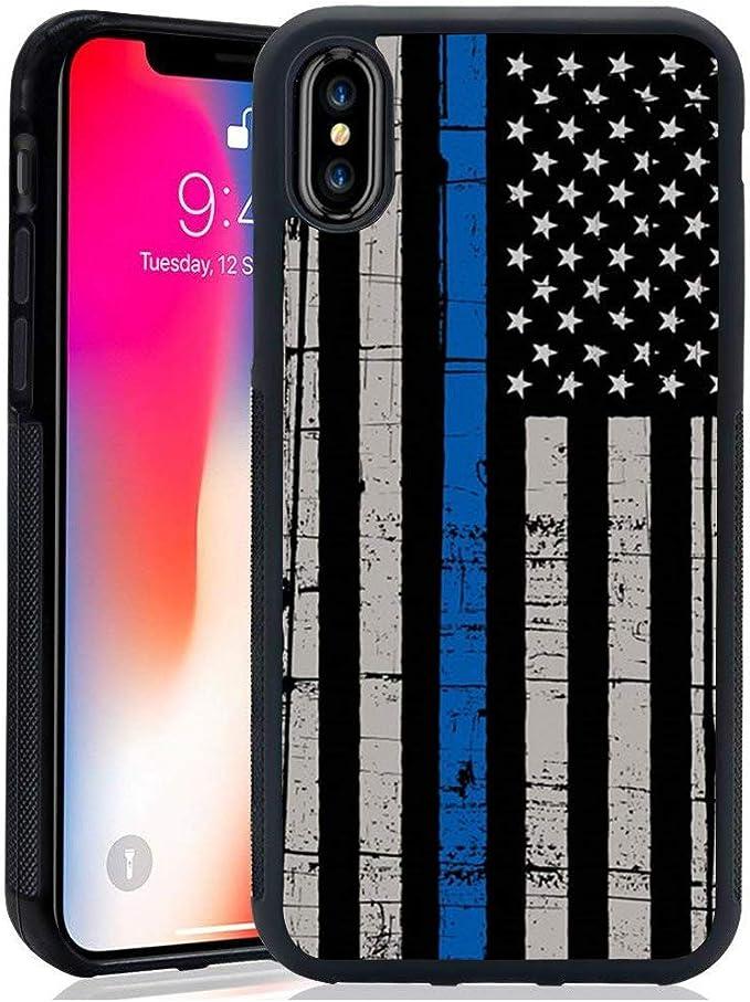 para iPhone X/XS (no MAX) – Línea Azul Delgada Negra Personalizada de la policía de la Bandera Estadounidense, Muestra tu Apoyo para los Primeros Auxilios: Amazon.es: Electrónica