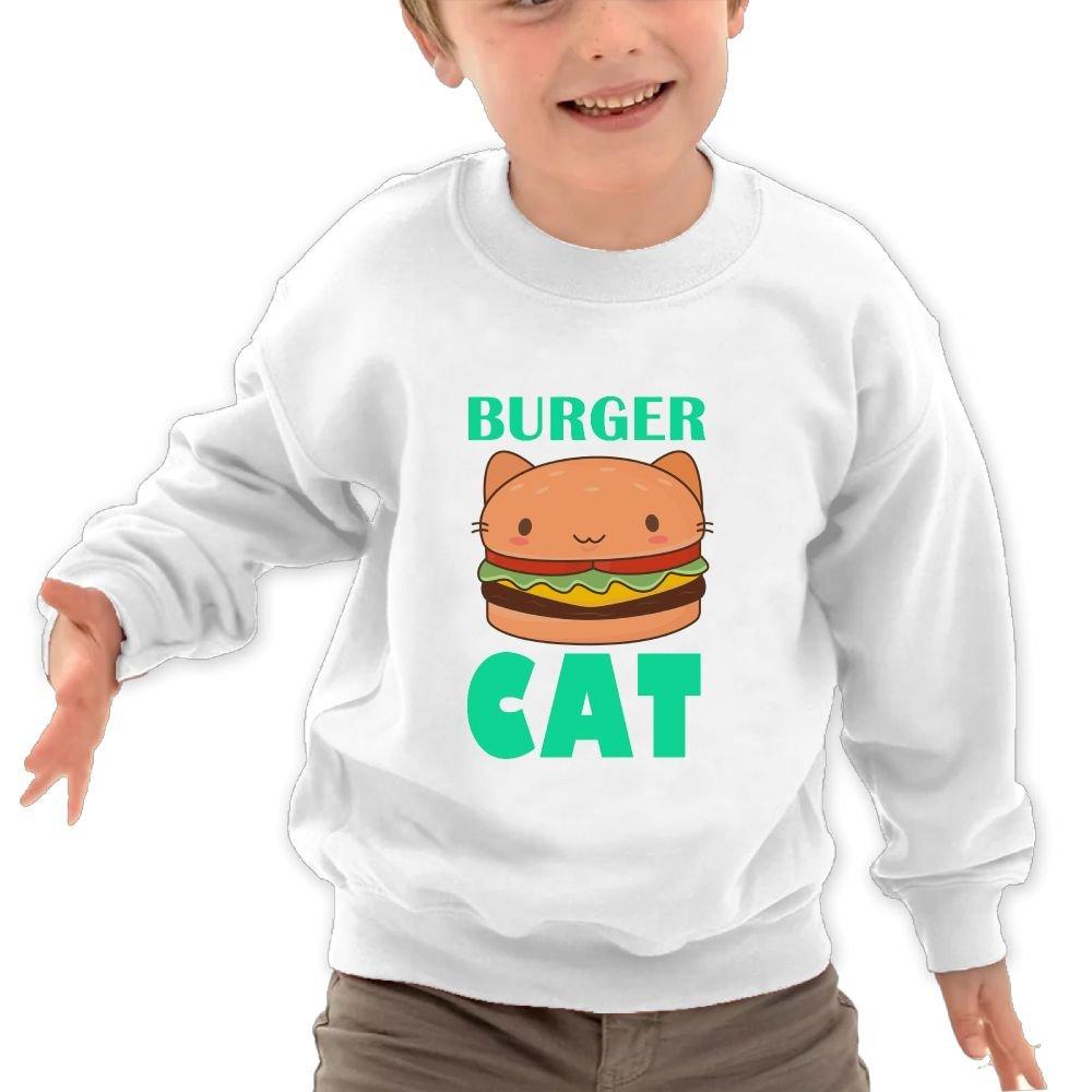 Mkajkkok Burger Cat Its Everyday Bro Kids Fashion Round Neck Long Sleeve T-Shirts
