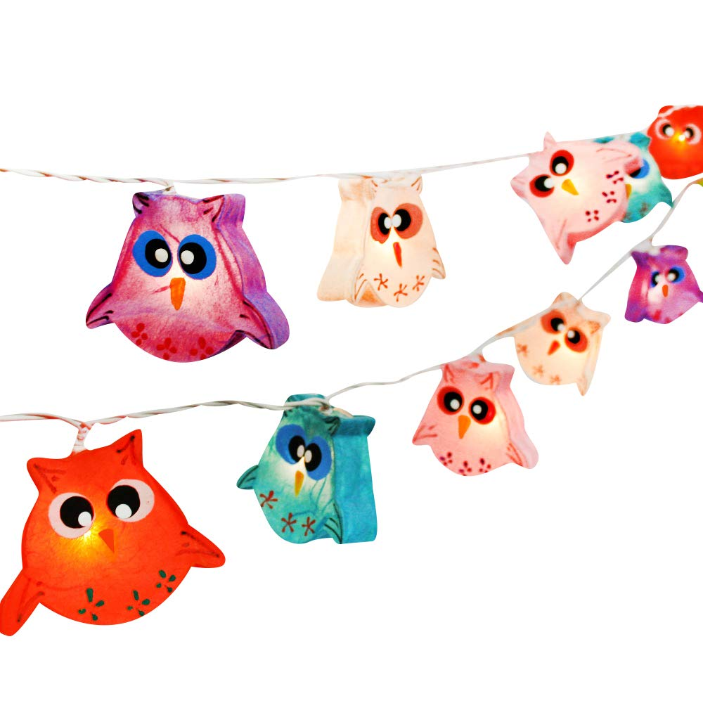 CHAINUPON Owl Bird Fancy Lantern String Night Lights Fairy Decor Living Room Kid Child Bedroom Boys Girls (Multi-Colored)