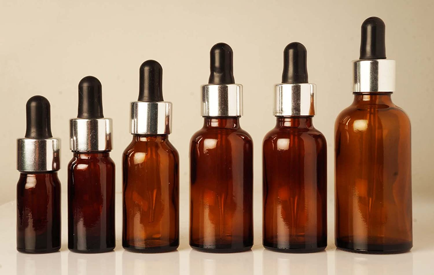 Lot of 6 x 10 ml Glass Bottles With Glass Dropper Pipettes Empty Esssential Oils Round Amber Bottles MT Bottles & Jars
