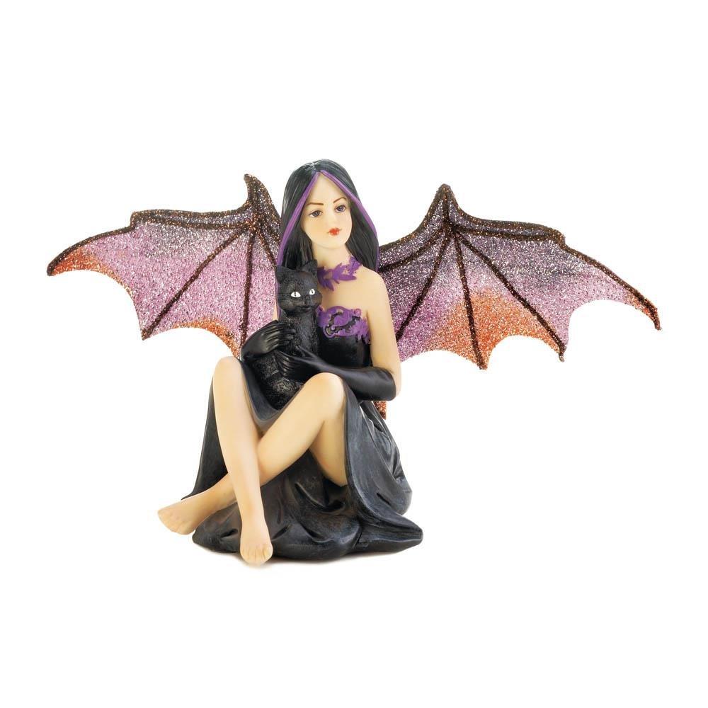 Dark Fairy w/ Purple Bat Wings in Black Dress Sitting on Skull w/ Rose Figurine by Gallery of Light