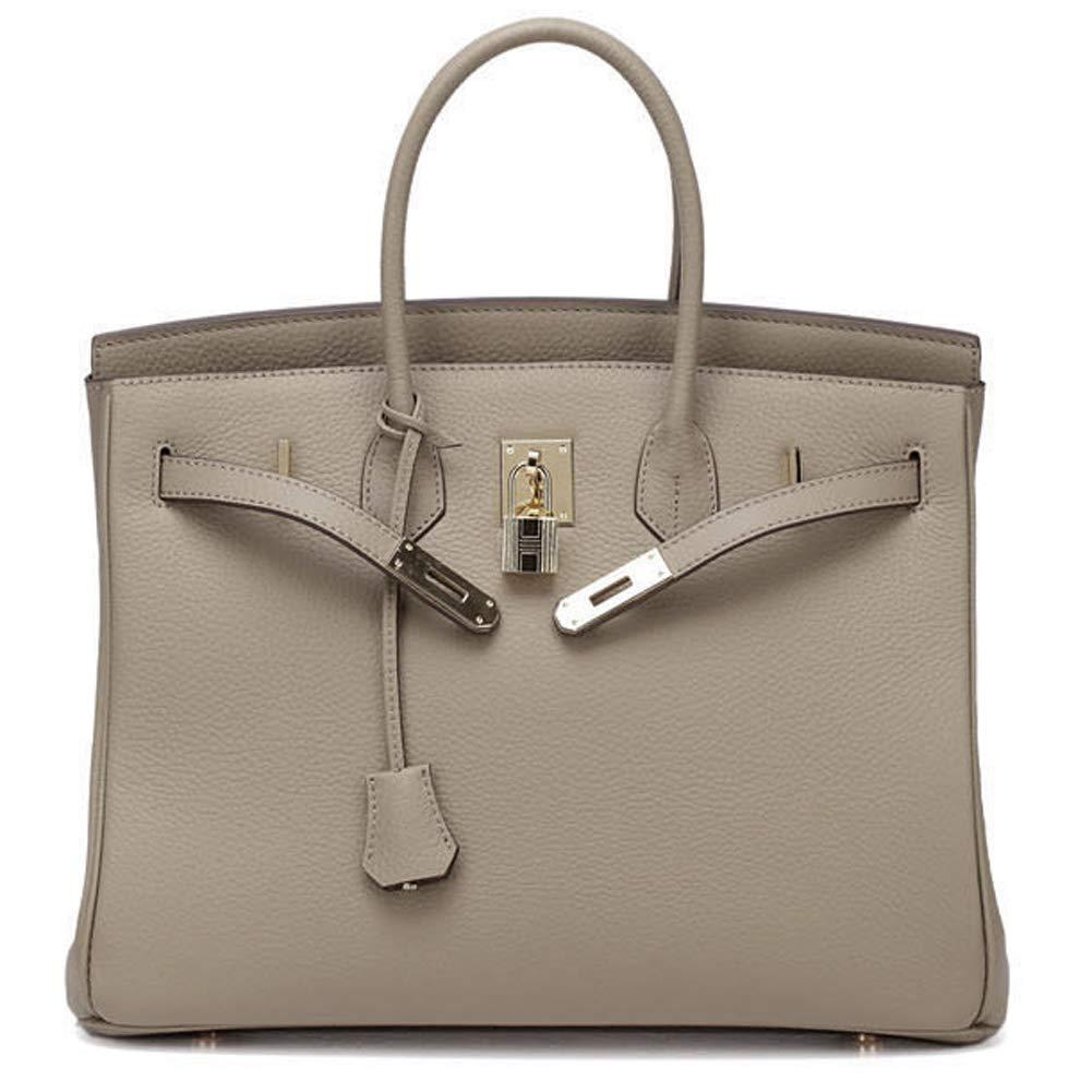 Macton Padlock Genuine Leather Handbag YMC-1329 (35CM Grey)