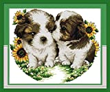 Full Range of Embroidery Starter Kits Cross Stitch Kits Beginners for DIY Embroidery with 40 Pattern Designs - Dogs