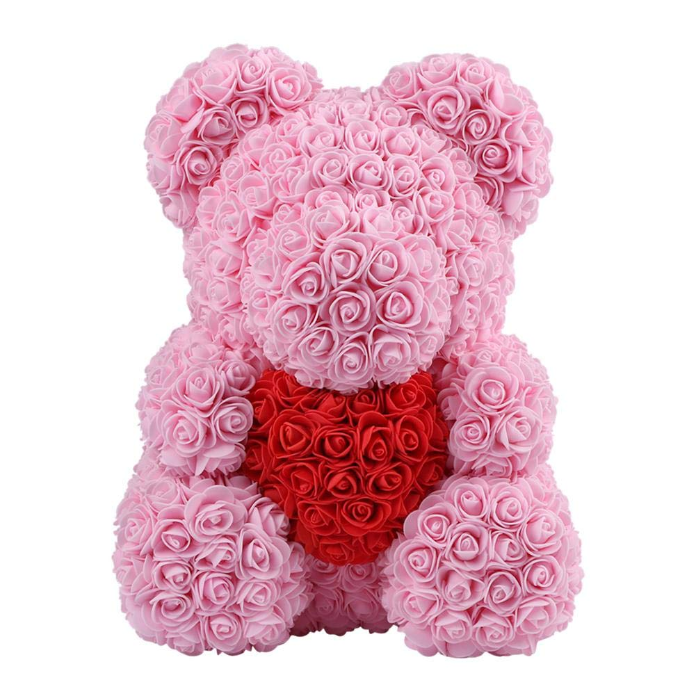 38*30cm Cute Pe Rose Bear Toy Women Girls Birthday Wedding Decoration Party Doll Gift Anniversary Valentines Day Gift Large Artificial & Dried Flowers Festive & Party Supplies
