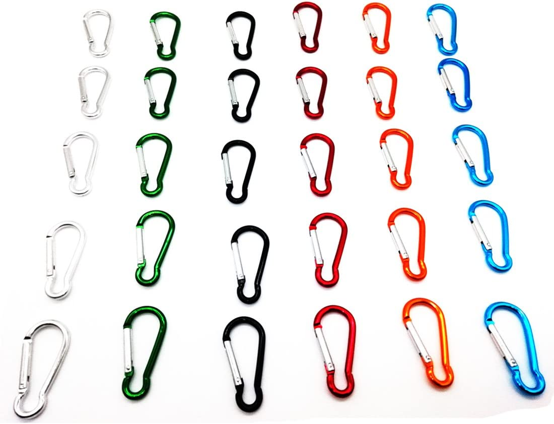 HDSUDCG 30PCS 2.5//6CM Aluminum D Ring Carabiner Clip,Lightweight Durable Small Caribeaner Keychain Hook for Home,Outdoor,Camping,Rv,Hiking,Travling,Fishing and Keychain