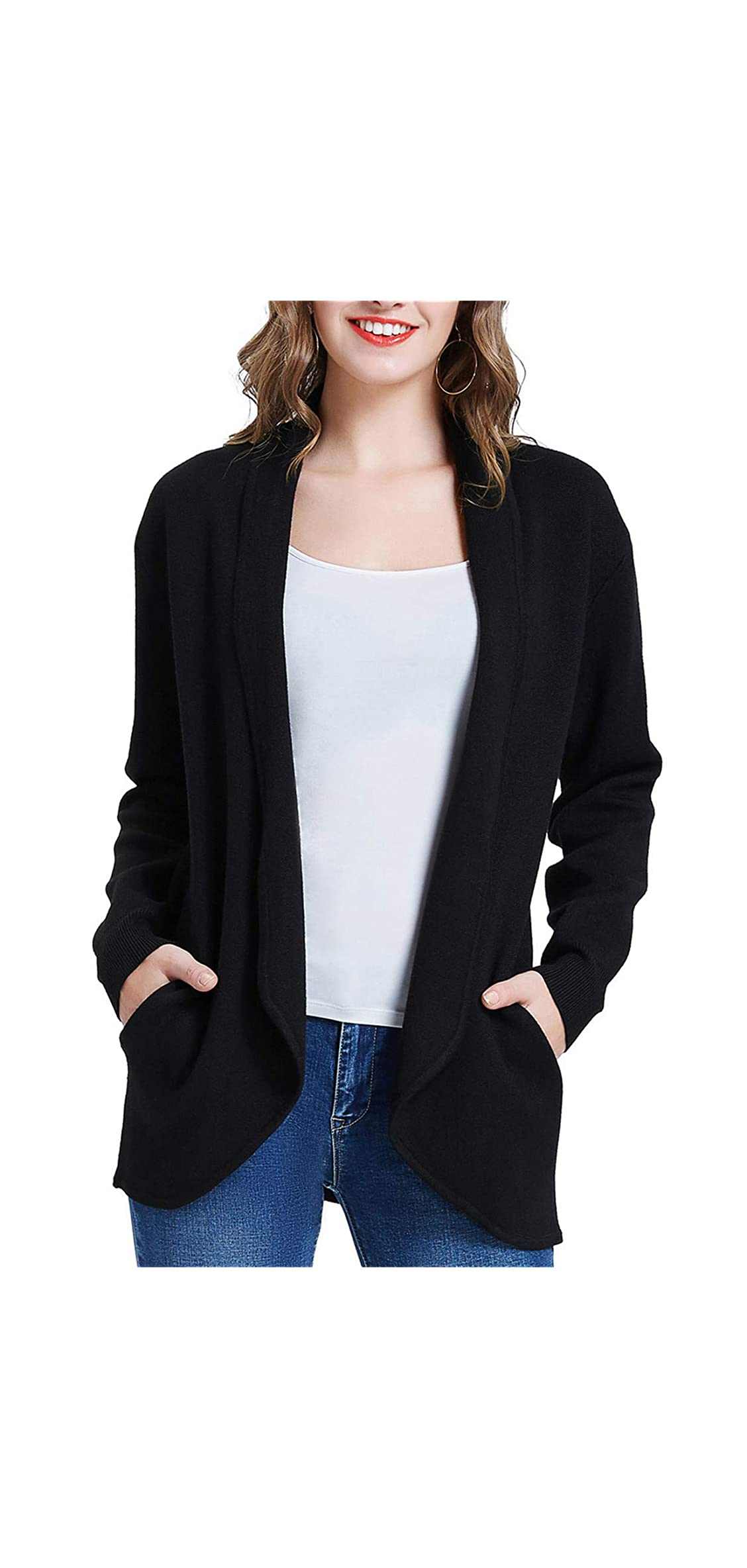 Womens Casual Lapel Knit Sweater Coat Open Front With