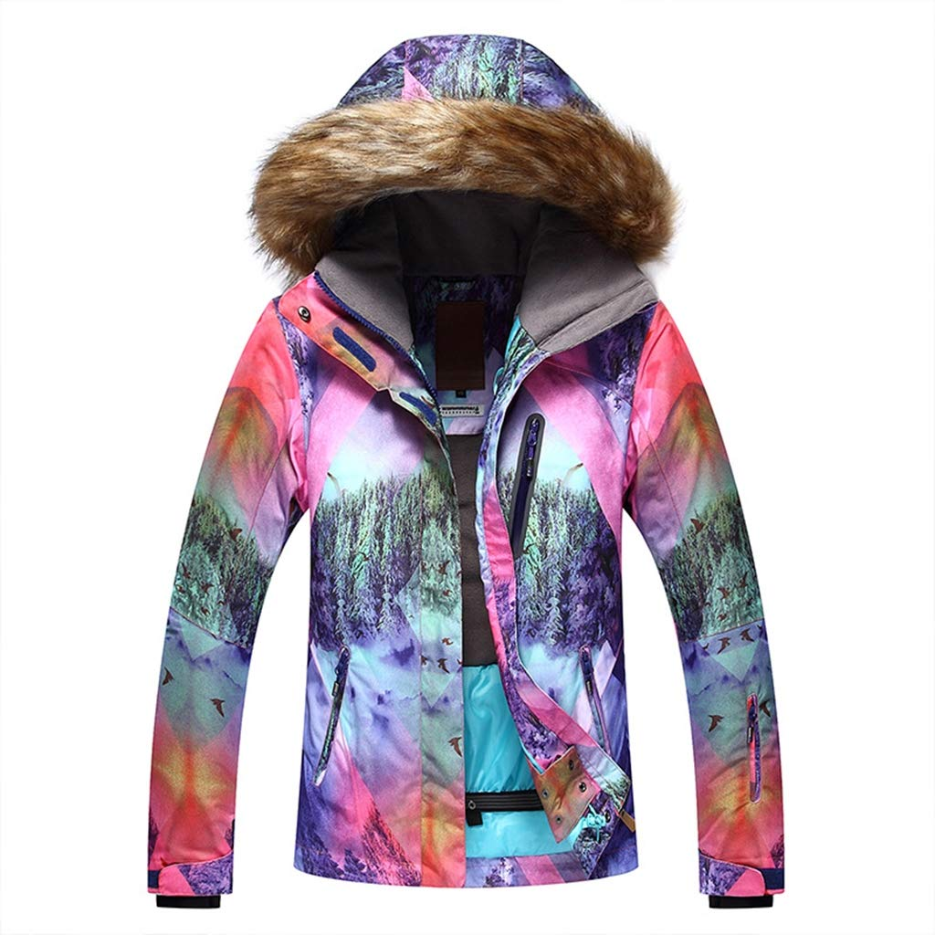 A L JIBO Woman's colorful Fur collar Windproof Ski jacket outdoor Mountaineering waterproof Thicken Women's ski suit