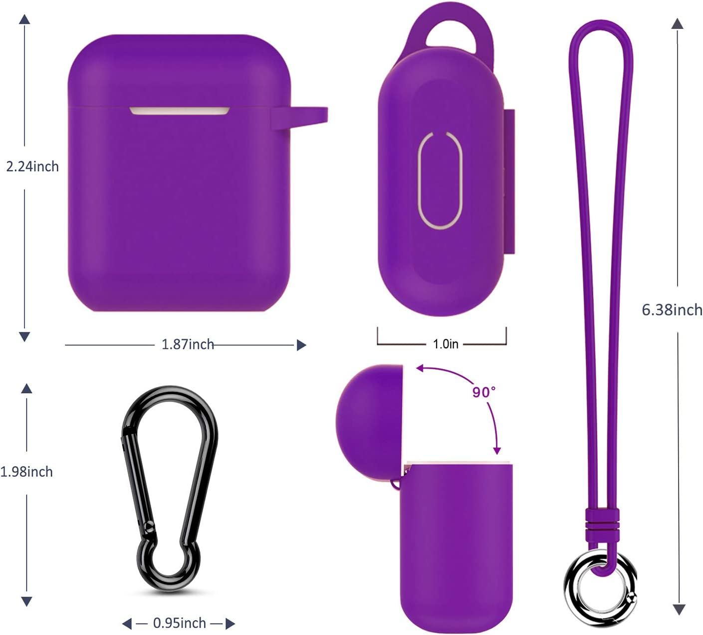 Front LED Visible Airpods Case Music tracker Thicken Protective Airpods 2 Cover Soft Silicone Earbuds Case Red with Carabiner//Anti-Lost Lanyard//EVA Storage Bag for Apple Airpods Gen 2