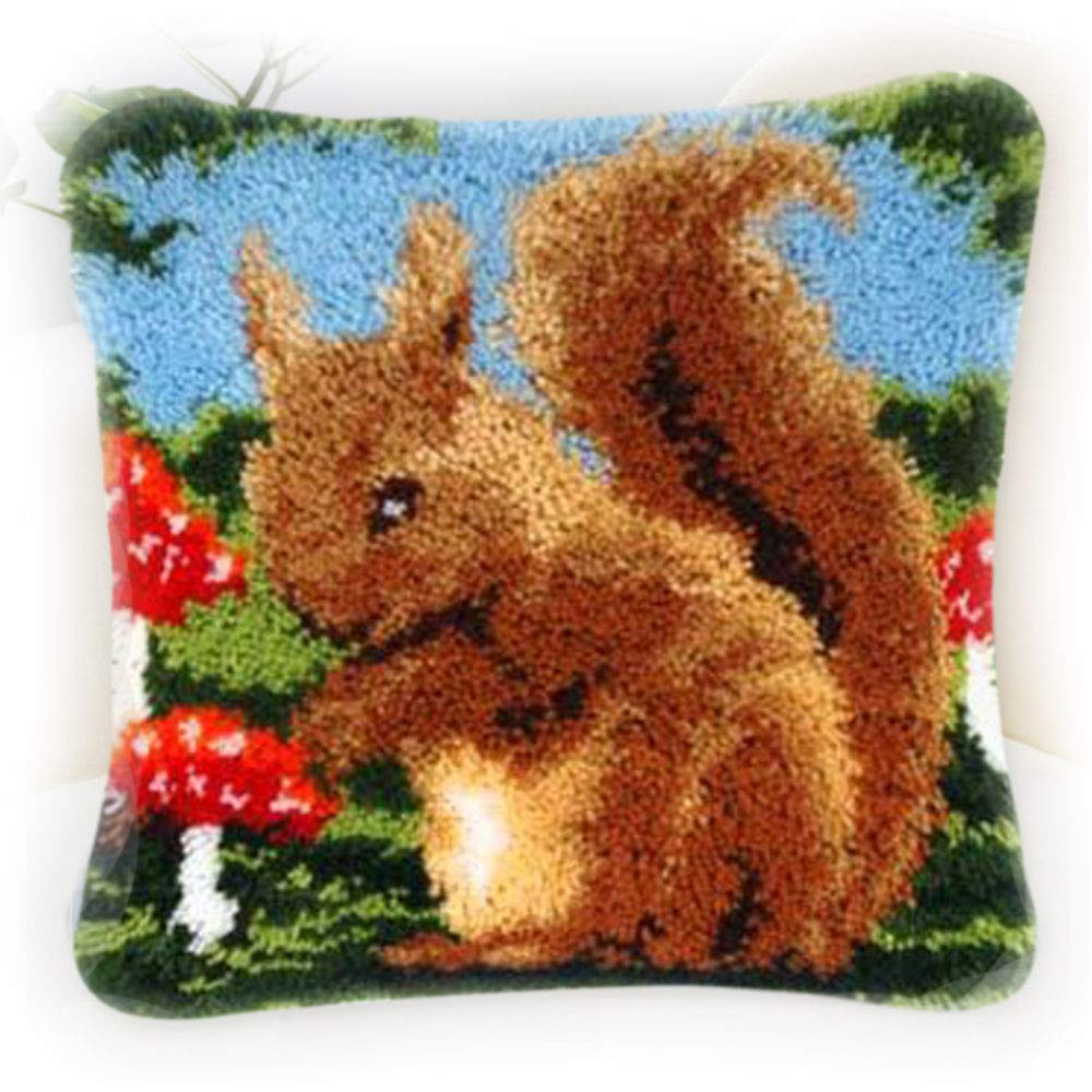 Gift2U Latch Hook Kit,Squirrel DIY Throw Pillow Cover Sofa Cushion Cover 16X16 inch Animal Pattern Paint Cross Stitch Squirrel