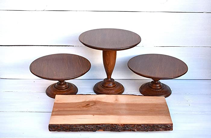 Amazoncom Set 3 Wood Cake Stands And Wood Slab Rustic Baby Shower
