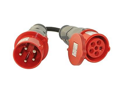 CEE Adapter Starkstrom 16 A Stecker auf 32 A Kupplung