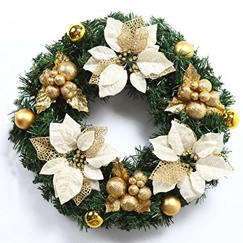 Christmas Garland for Stairs fireplaces Christmas Garland Decoration Xmas Festive Wreath Garland with Christmas wreath gold,50CM gold by Caribou Furniture And Decor