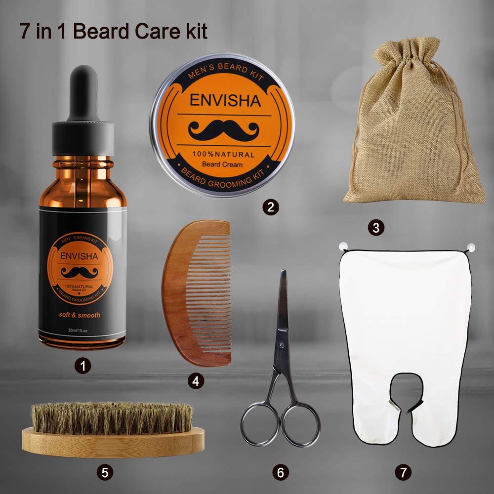 Beard Grooming Kit, KOKOBI Gifts for Men- 7 in 1 Beard Trimmer and Growth Care Kit Includes- Beard Oil, Beard Balm, Beard Brush, Beard Comb, Mustache Scissors, Beard Bib, Storage Bag -Black Gift Box