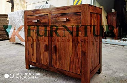 pretty nice b3cc0 bb373 VK Furniture Sheesham Wood Sideboard Cabinets for Living Room | 2 Drawers &  Cabinet Storage | Natural Brown Finish
