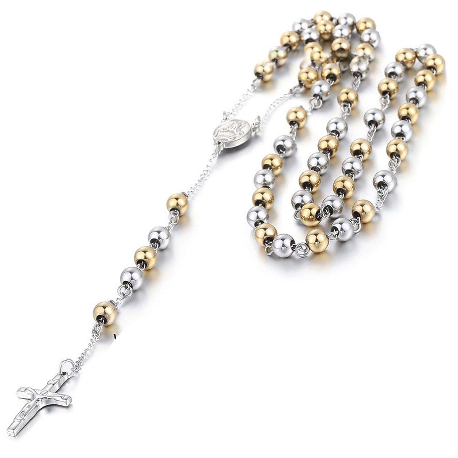 Mens Chain Stainless Steel Bead Chain Rosary Jesus Christ Cross Pendant Long Necklace,K07