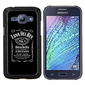 KLONGSHOP // Cubierta de piel con cierre a presión Shell trasero duro de goma Protección Caso - Summertime Cantante Paraíso Mujer Album Negro - Samsung Galaxy J1 J100 //