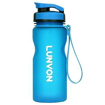 Lunvon 600ml / 21 oz Mejor Deportes Botella de Agua, A prueba de Fugas -