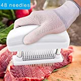 Meat Tenderizer 48 Ultra Sharp Stainless Steel Blades to Tender Meat,Professional Kitchene Tool for Steak Chicken Fish Beef Pork. White