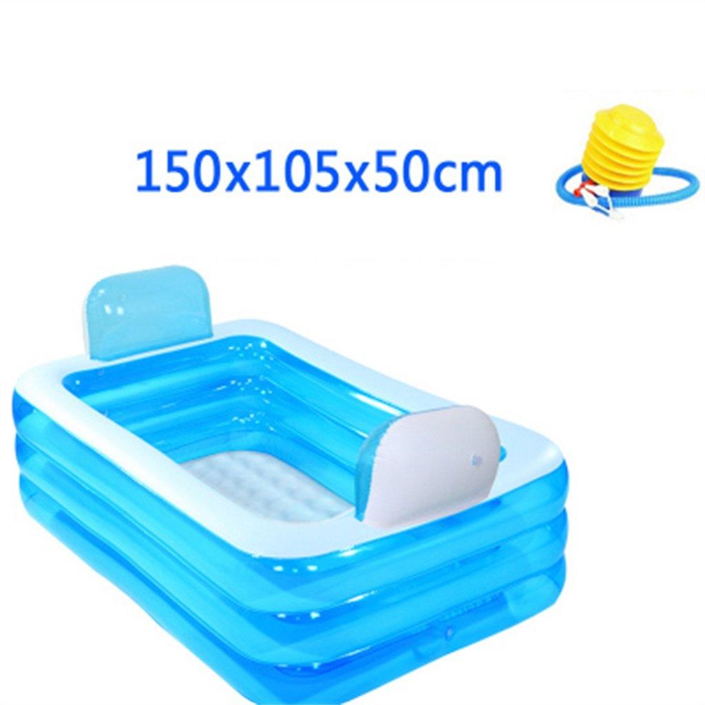 LQQGXL,Bath Inflatable bathtub European style Large adult family bath tub Collapsible tub Children's pool Swimming pool Inflatable bathtub ( Color : Foot pump )