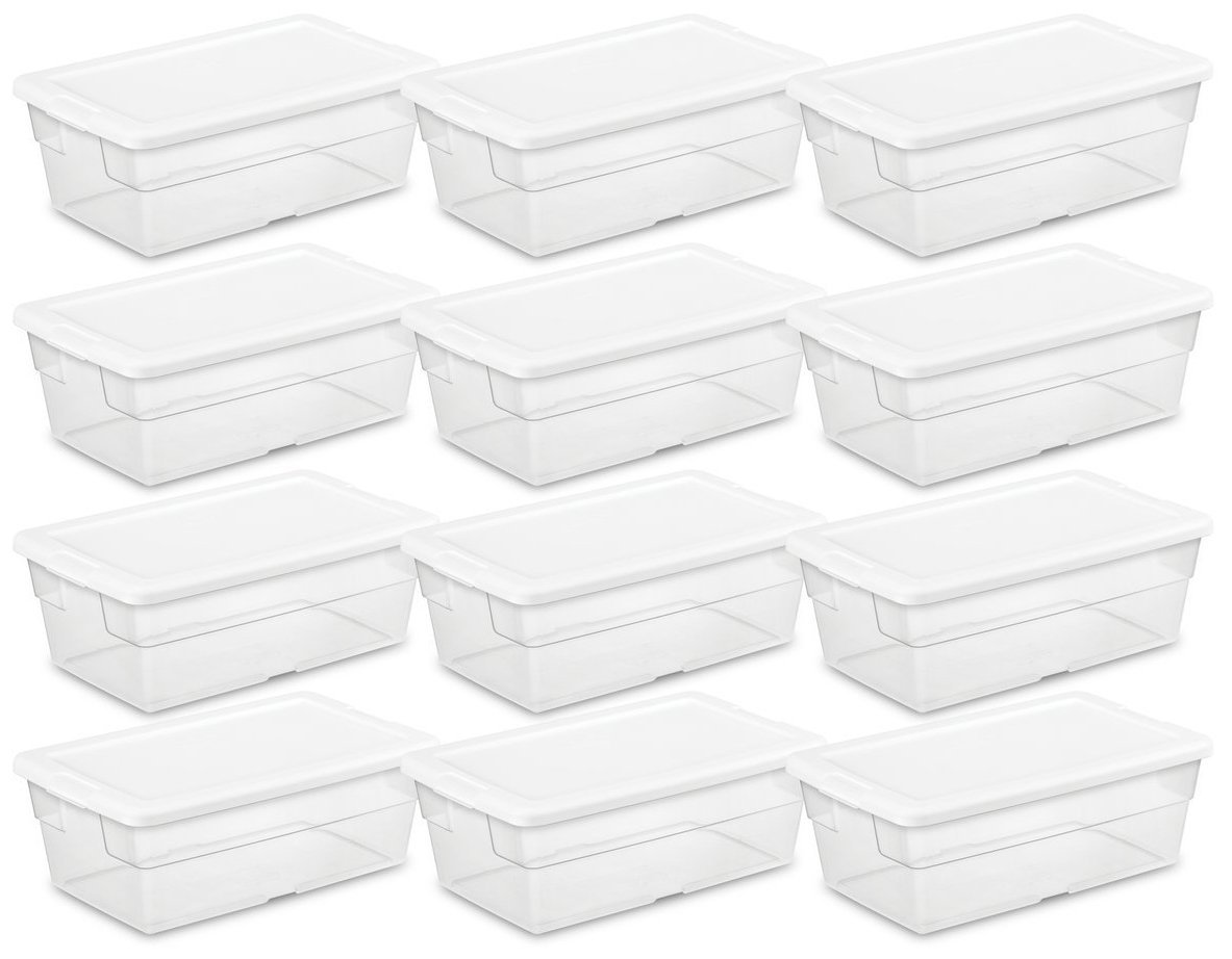 Sterilite 16428012 6 Quart/5.7 Liter Storage Box, White Lid with Clear Base (Pack of 12) by STERILITE