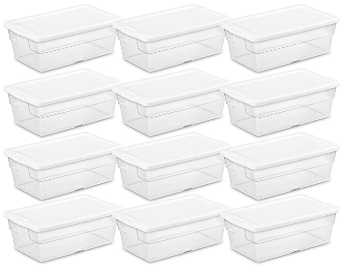 STERILITE 16428012 6 Quart/5.7 Liter Storage Box, White Lid with Clear Base