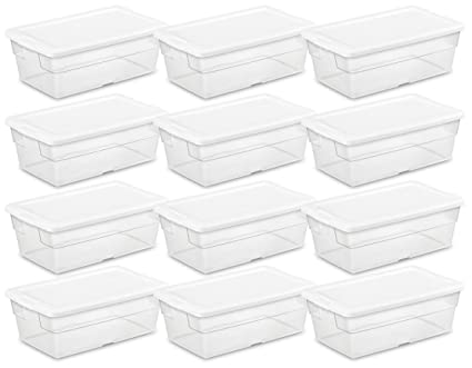 Sterilite 16428012 6 Quart/5.7 Liter Storage Box, White Lid With Clear Base  (