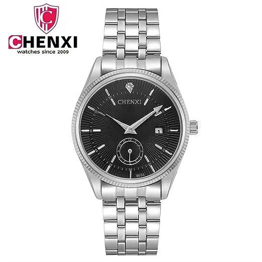 HWCOO Relojes CHENXI Reloj de Negocios a Prueba de Agua Reloj para Hombres Reloj no mecánico Reloj de Cuarzo de Acero 069A Reloj de Pulsera (Color : 1): ...