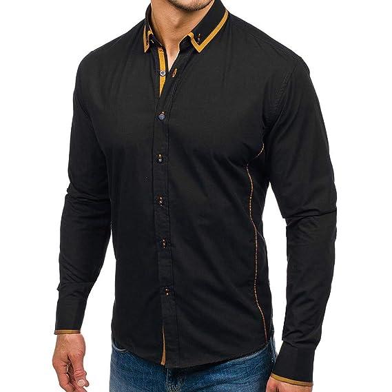 Camisas de Hombre/Blancas/Slimfit/Cuadros/Estampadas Moda Hombre Camisa Sólido Color Puro Articulación Hombre Casual Camisa de Manga Larga: Amazon.es: Ropa ...