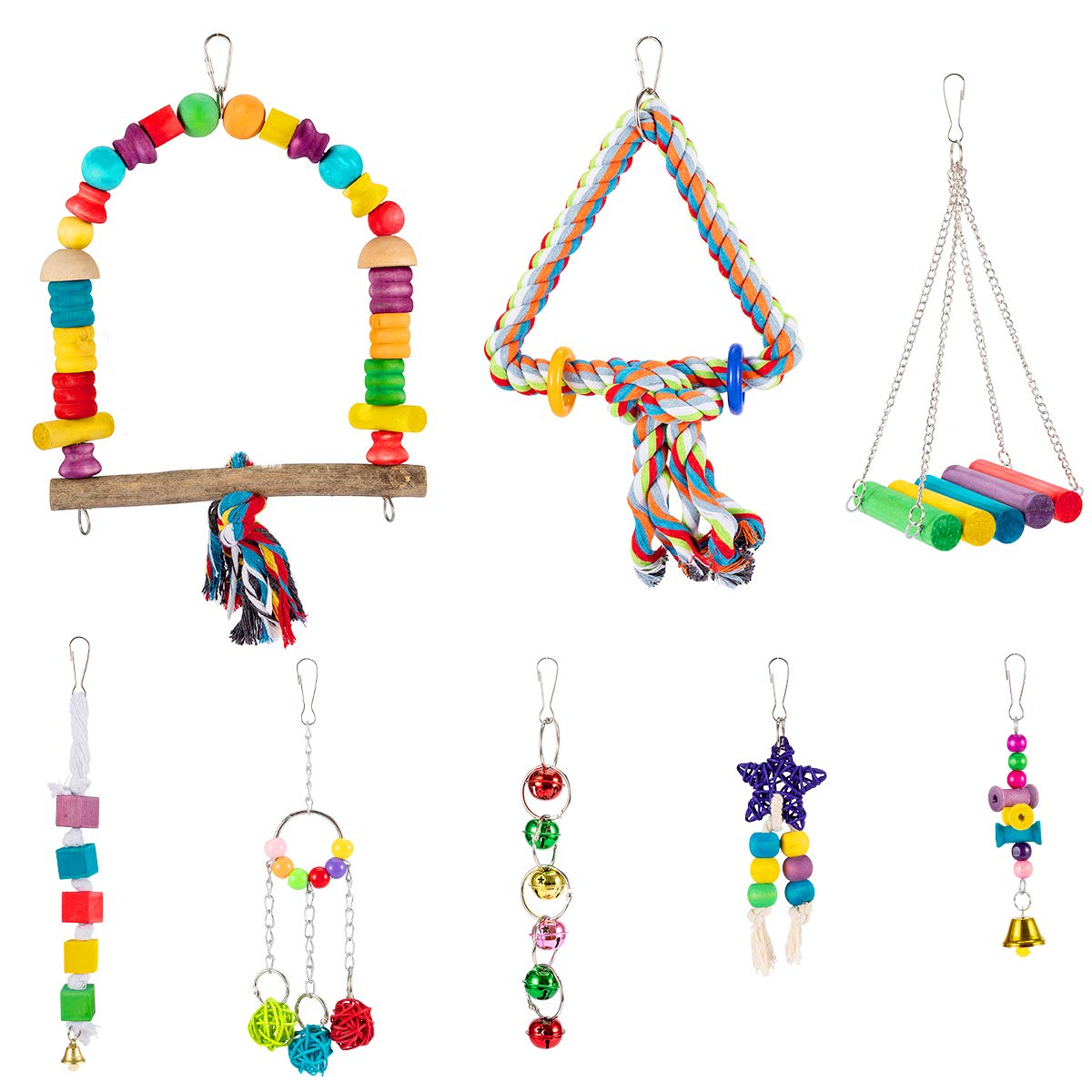 MEWTOGO 8 Pcs Bird Parrot Hanging Swing Perches Toys- Colorful Pet Birds Cage Hammock Chewing Toy with Rattan Ball Bells for Small Love Birds Budgie Parakeets Cockatiels Conures Finches Lorikeets by MEWTOGO